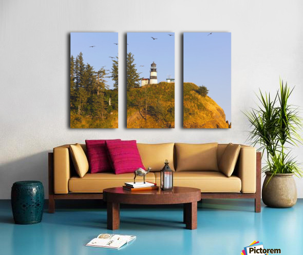 Birds In Flight Over Cape Disappointment Lighthouse; Ilwaco, Washington, United States of America Split Canvas print