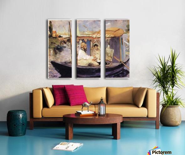 Claude_Monet_dans_son_bateau_atelier_1874 by Manet Split Canvas print