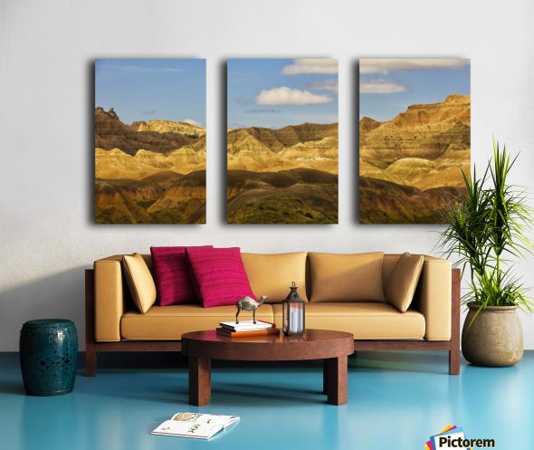 Dramatic light on the eroded formations of badlands national park; south dakota united states of america Split Canvas print
