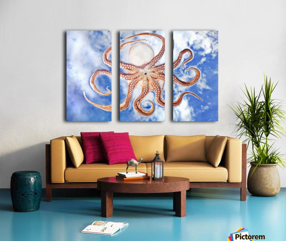 An octopus with blue sky and cloud in the background Split Canvas print