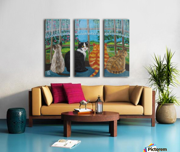 cats in window Split Canvas print
