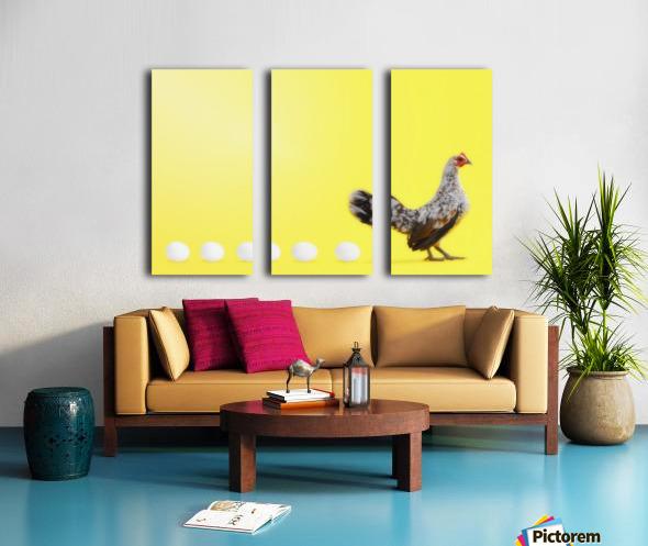 Hen standing in line with five eggs;British columbia canada Split Canvas print