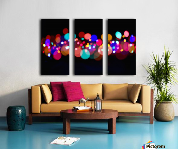 The Blur Of Coloured Lights; Edmonton, Alberta, Canada Split Canvas print