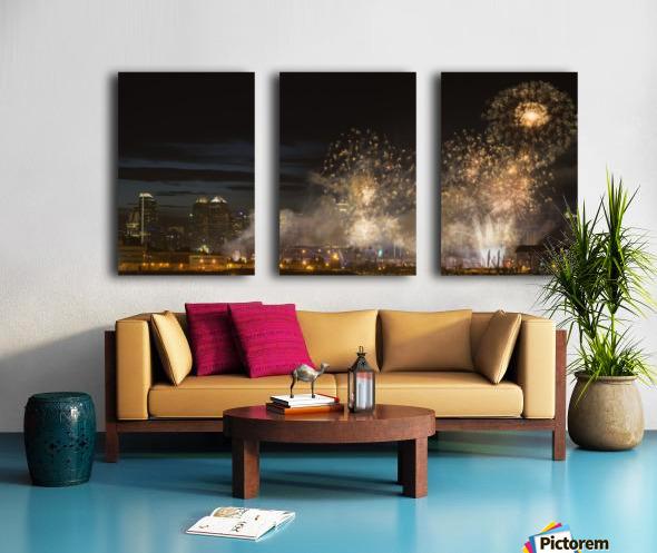 Fireworks in front of modern city skyline; Calgary, Alberta, Canada Split Canvas print