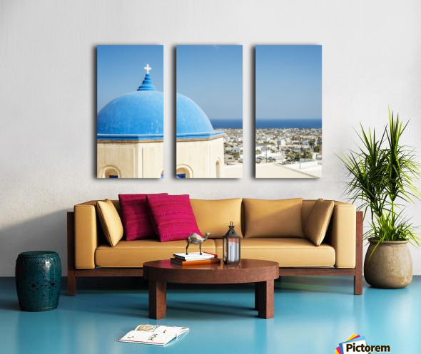 Church with a blue dome roof and view of the Aegean sea; Megalochori, Santorini, Greece Split Canvas print