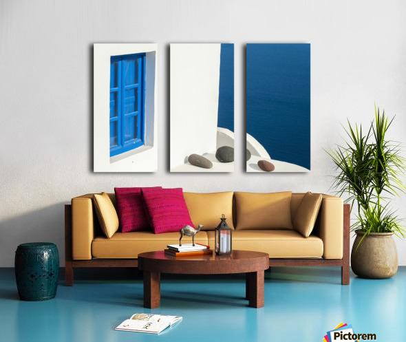 Whitewash building with blue trimmed window along the Aegean sea; Oia, Santorini, Greece Split Canvas print