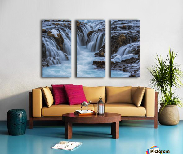 Turquoise water flowing over rocks into a river; Bruarfoss, Iceland Split Canvas print