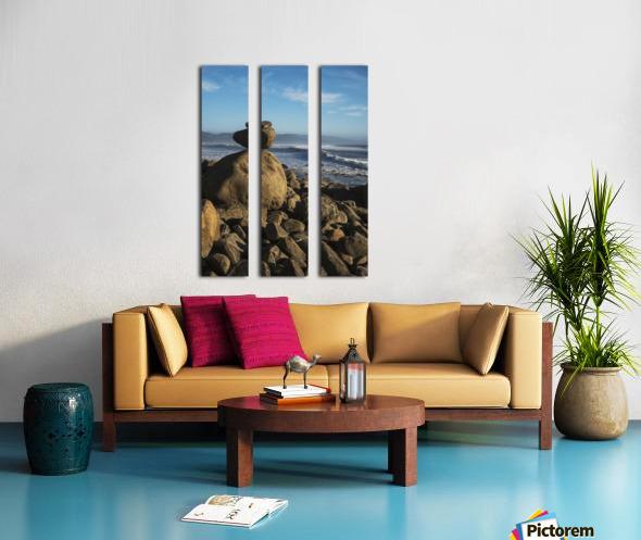 Stones have been balanced on Neahkahnie Beach; Manzanita, Oregon, United States of America Split Canvas print