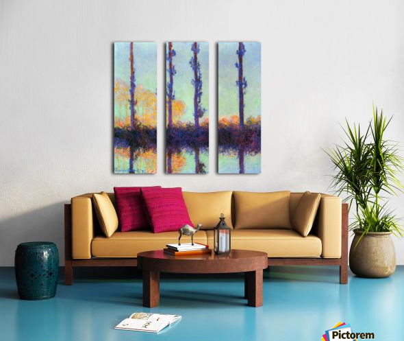 Four poplars by Monet Split Canvas print