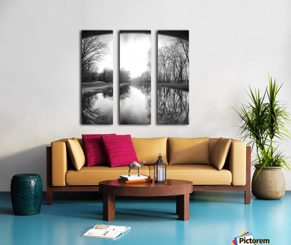 The Canal, Black and White Split Canvas print