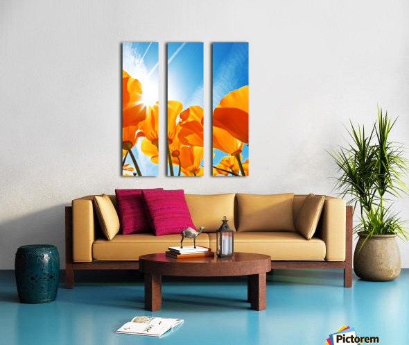 Field of Flowers with Blue Sky, Macro View Split Canvas print