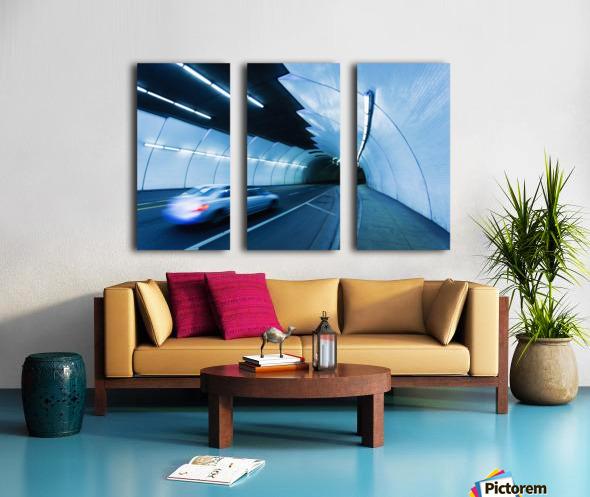 Urban Tunnel, Car moving with Motion Blur Split Canvas print