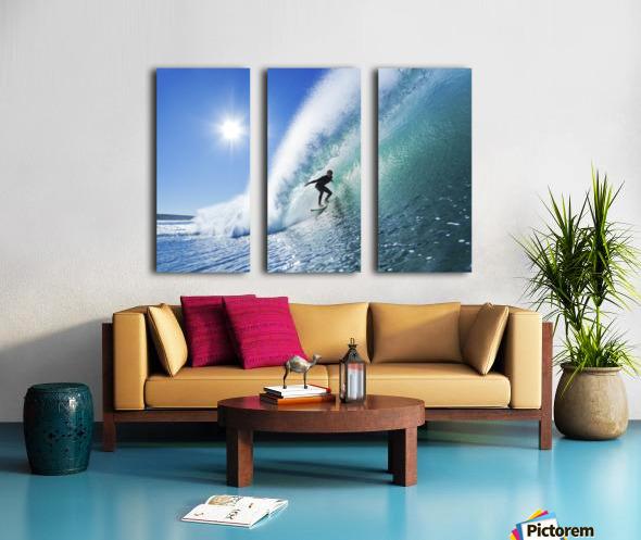 Surfer On Blue Ocean Wave Split Canvas print