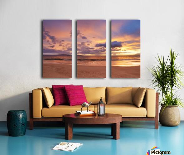 Sunset on Hawaii Beach Split Canvas print