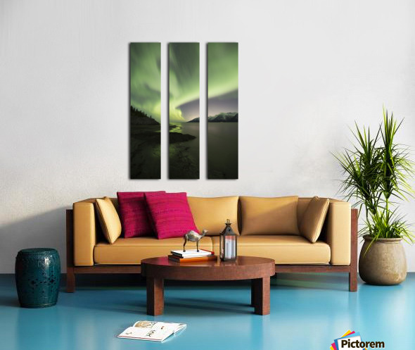 Aurora Borealis dancing above the Chugach Mountains and Turnagain Arm, Kenai Peninsula, Southcentral, Alaska Split Canvas print