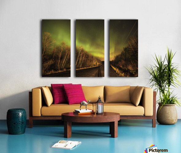 Aurora borealis over road; Thunder Bay, Ontario, Canada Split Canvas print