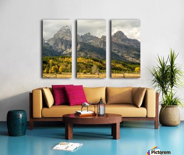 Grand Teton range in autumn, Grand Teton National Park; Wyoming, United States of America Split Canvas print
