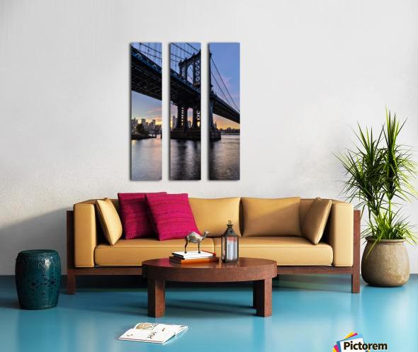 Manhattan Bridge and NYC skyline at sunset, Brooklyn Bridge Park; Brooklyn, New York, United States of America Split Canvas print