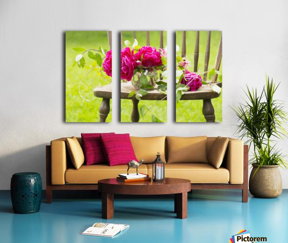 Fresh pink peonies picked and lying on a wooden chair; New Westminster, British Columbia, Canada Split Canvas print
