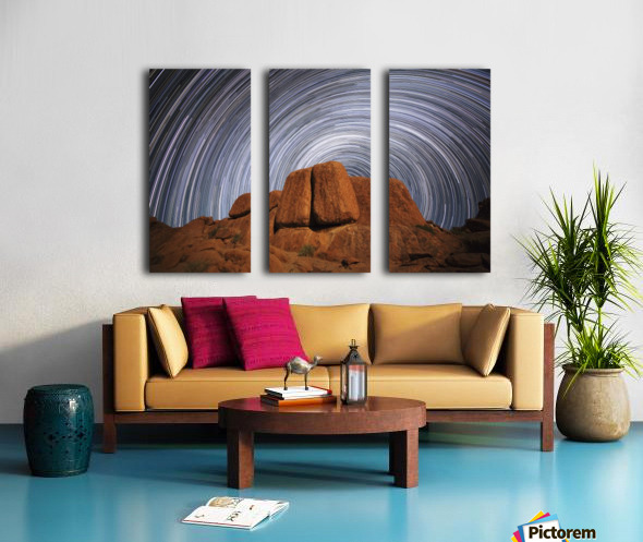Star trails above a large boulder in Richtersveld National Park; South Africa Split Canvas print