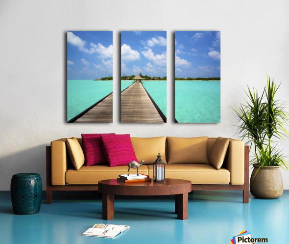 Jetty with cabana over crystal clear turquoise sea, Maldives Split Canvas print