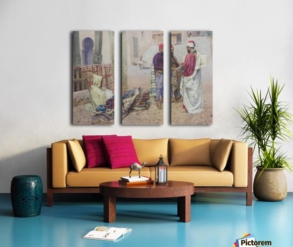 Selling carpets in the market Split Canvas print