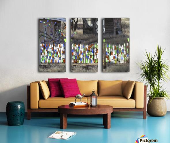 Turquoise Trail - Glass bottles in Golden 2VP Split Canvas print