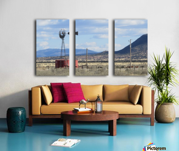Windmill and Mountains VP1 Split Canvas print