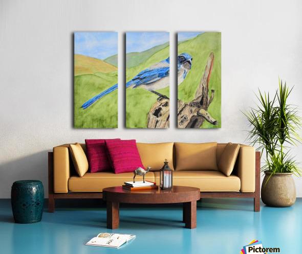 Blue Scrub Jay On Dead Tree Split Canvas print