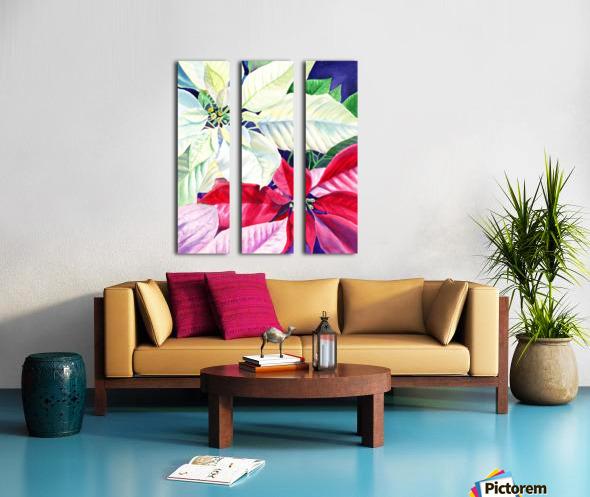 White Red Pink Poinsettia Split Canvas print