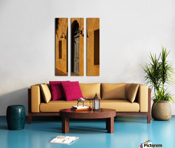 Blue Door in a Orange Wall Split Canvas print