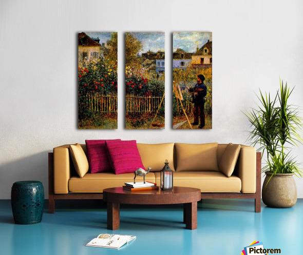 Monet painting in his garden in Argenteuil Split Canvas print