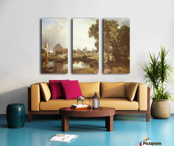 A pond in front of a house Split Canvas print