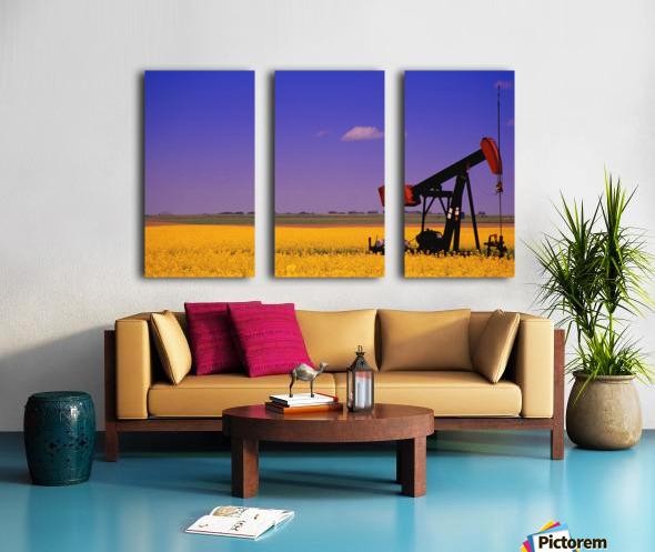 Pumpjack In A Canola Field Split Canvas print