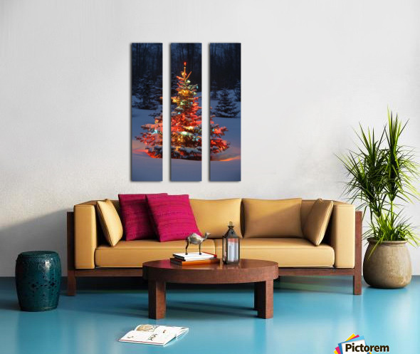 Christmas Tree With Lights Outdoors In The Forest Split Canvas print