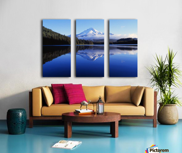 Trillium Lake With Reflection Of Mount Hood, Mount Hood National Forest Split Canvas print