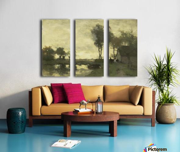 Landschap met boerderij bij een plas Split Canvas print