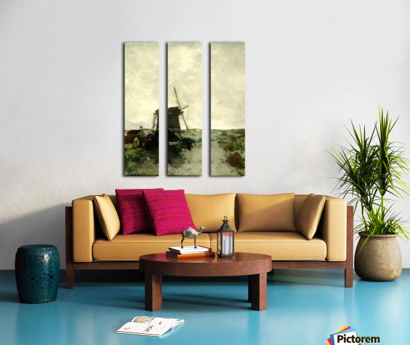 Landscape with houses and a mill Split Canvas print