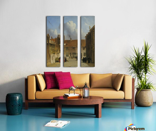 Cityscape with many figures Split Canvas print