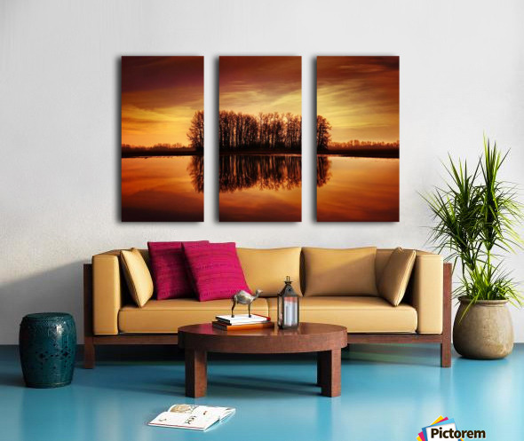 Silhouetted Trees Reflected On Water Split Canvas print