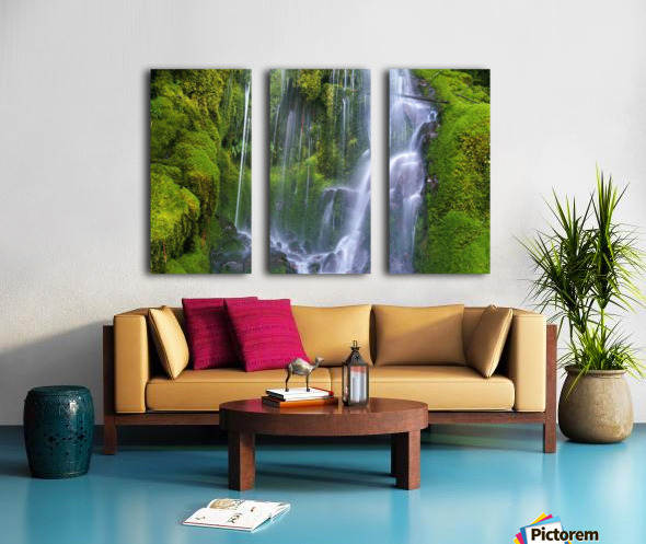 Waterfall Over Moss-Covered Rocks Split Canvas print