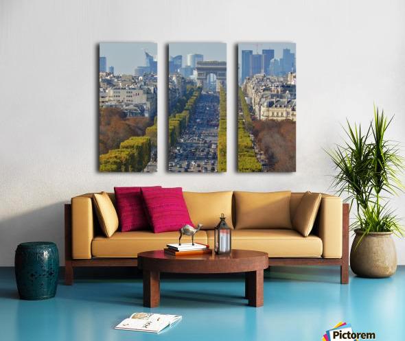 Arc d'Triompe up the Champs Elysees Split Canvas print