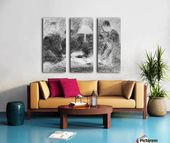 Family evening by Seurat Split Canvas print