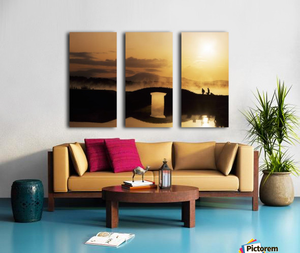 Killarney Golf Course, Co Kerry, Ireland; Silhouetted Golfers Split Canvas print