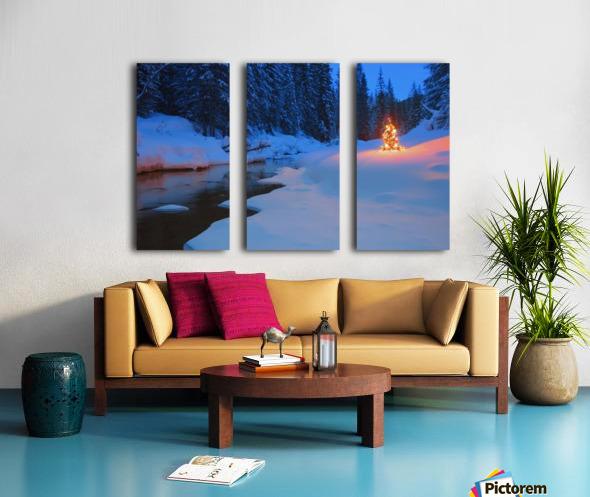 Glowing Christmas Tree By Mountain Stream Split Canvas print