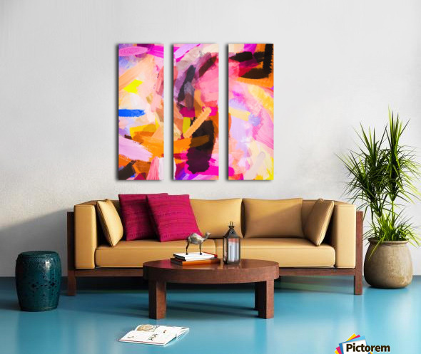 pink purple yellow brown painting texture abstract background Split Canvas print