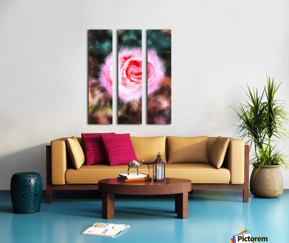 pink rose with green and brown background Split Canvas print