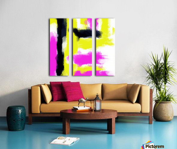 pink yellow and black painting abstract with white background Split Canvas print