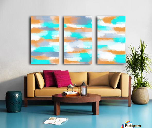 orange and blue painting abstract with white background Split Canvas print