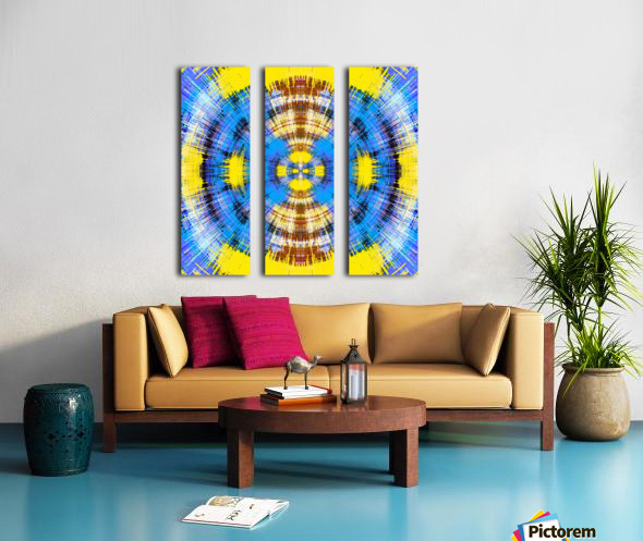 geometric blue yellow and brown circle plaid pattern abstract background Split Canvas print